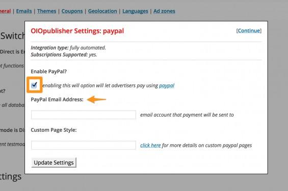 Paypal payment setup