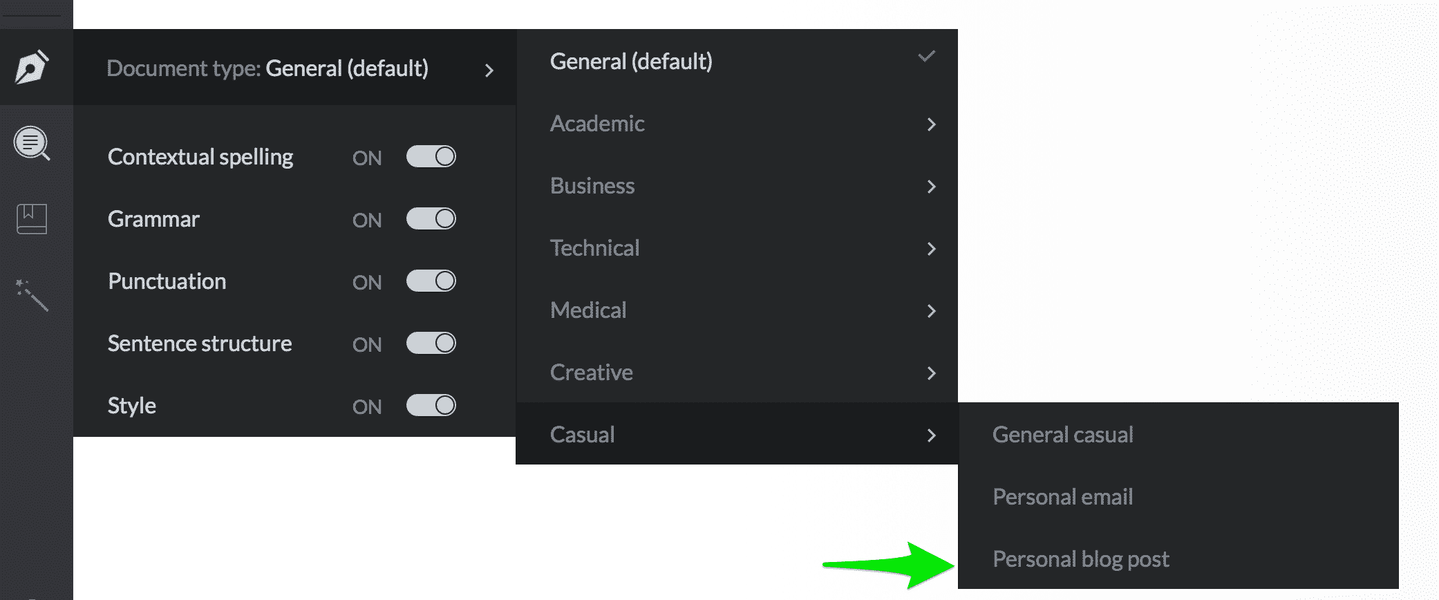 grammarly writing style options